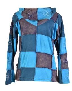 Modrá patchworková mikina s kapucňou, prestrihy a výšivky, vrecká, zips