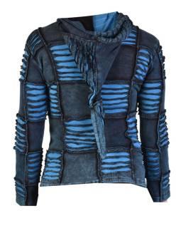 Modrá mikina s kapucňou a výšivkou, prestrihy, zips, vrecká