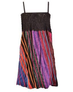 Mini šaty na ramienka, čierno-farebné, aplikácie