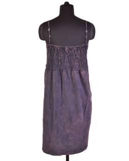 Mini šaty na ramienka, fialovo-šedo zelené, aplikácia kvetín