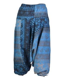 Modro-šedé turecké nohavice, guma v páse, vrecká, potlač slonov