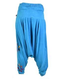 Tyrkysové turecké nohavice s farebnými kvetmi, výšivka, bobbin