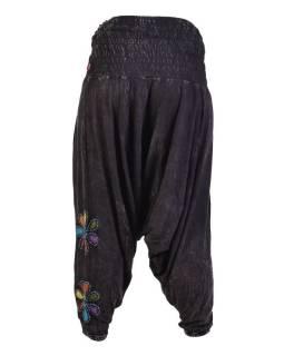 Čierne turecké nohavice s farebnými kvetmi, výšivka, bobbin