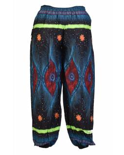 Čierne nohavice z ľahkého materiálu, farebná potlač, čierno-tyrkysové