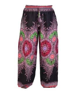 Čierne nohavice z ľahkého materiálu, farebná potlač, čierno-ružové