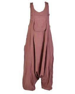 Hnedé turecké nohavice s trakmi, rozopínanie na gombíky, vrecká