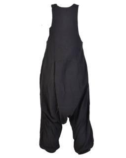 Čierne turecké nohavice s trakmi, rozopínanie na gombíky, vrecká