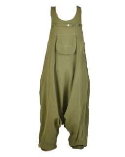 Khaki turecké nohavice s trakmi, rozopínanie na gombíky, vrecká