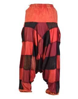 Turecké unisex nohavice, vrecká, patchwork, červené odtiene