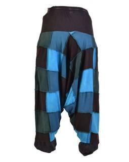 Turecké unisex nohavice, vrecká, patchwork, modro-čierne
