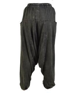 Turecké unisex nohavice, vrecká, stonewash, tmavo zelené