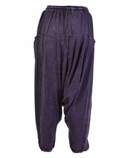 Turecké unisex nohavice, vrecká, stonewash, tmavo fialovej