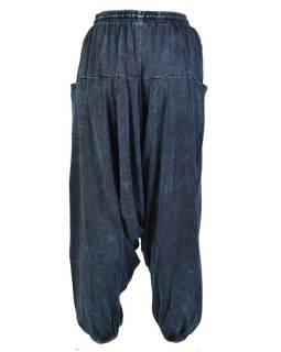 Turecké unisex nohavice, vrecká, stonewash, tmavo modré