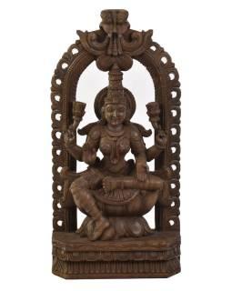 Drevená socha Laxmi z južnej Indie, rain tree wood, 33x11x69cm