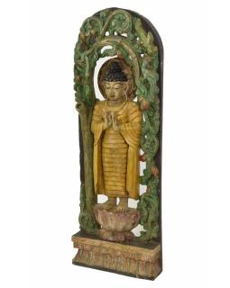 Drevená socha Budha z južnej Indie, rain tree wood, 38x10x108cm