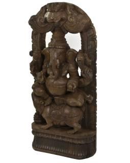 Drevená socha Ganéša z južnej Indie, rain tree wood, 44x14x93cm