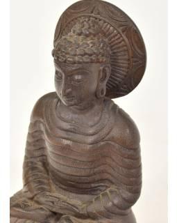 Drevená socha Budhu z južnej Indie, rain tree wood, 17x10x30cm
