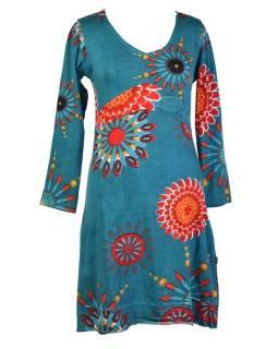 Tyrkysové šaty s dlhým rukávom, Flower Mandala potlač