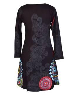 Čierne šaty s dlhým rukávom, mandala potlač