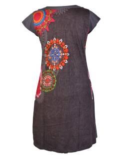 Šedé šaty s krátkym rukávom, mandala potlač