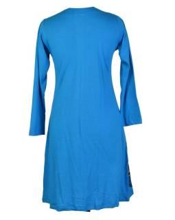 Tyrkysové šaty s dlhým rukávom, mandala potlač