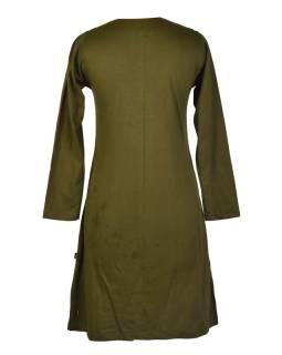 Khaki šaty s dlhým rukávom, mandala potlač