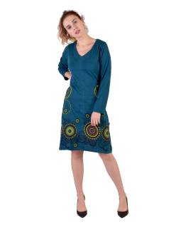 Petrolejové šaty s dlhým rukávom, mandala potlač