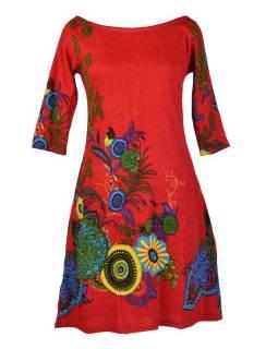 Červené šaty s trojštvrťovým rukávom a lodičkovým výstrihom, Eolia dizajn