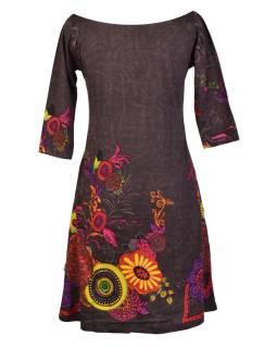 Šedé šaty s trojštvrťovým rukávom a lodičkovým výstrihom, Eolia dizajn