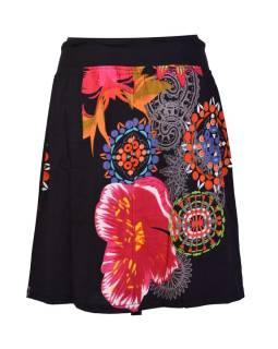 Krátka čierna sukňa s potlačou, elastický pás, šnúrka