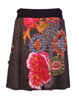 Krátka šedivá sukňa s potlačou, elastický pás, šnúrka