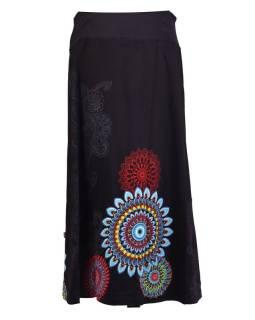 Dlhá čierna sukňa s potlačou, elastický pás, šnúrka
