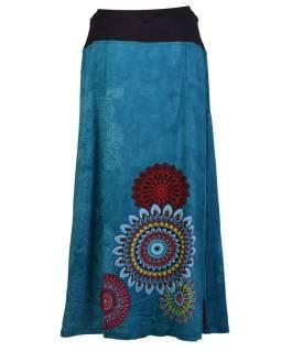Dlhá tyrkysová sukňa s potlačou, elastický pás, šnúrka