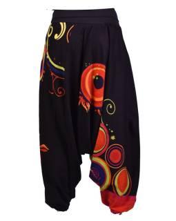 """Čierne turecké nohavice s vysokým pásom, """"Disco design"""","""