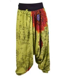 "Zelené turecké nohavice s vysokým pásom, ""Disco design"","