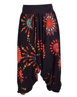 "Čierne turecké nohavice s vysokým pásom, ""Flower mandala"""