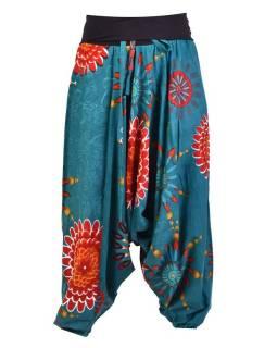 """Tyrkysové turecké nohavice s vysokým pásom, """"Flower mandala"""""""