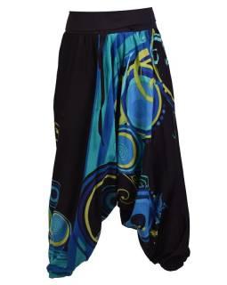 """Čierne turecké nohavice s vysokým pásom, """"Disco mandala"""""""