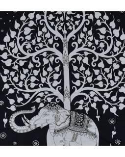 Posteľná prikrývka, Slon a strom života, čierno-biely, 204x227cm
