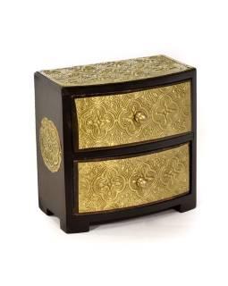Drevená skrinka s 2 zásuvkami, mosadzné kovania, 15x9x15cm