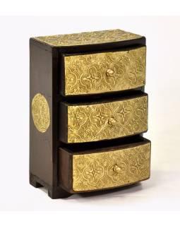 Drevená skrinka s 3 šuplíky, mosadzné kovania, 15x9x22cm