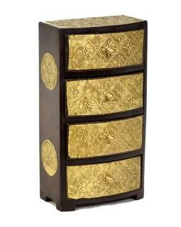 Drevená skrinka s 4 zásuvkami, mosadzné kovania, 15x9x28cm