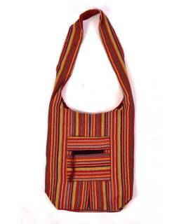 """Taška cez rameno, """"Ghar farebné prúžky"""", vrecká, zips, 35x42cm"""