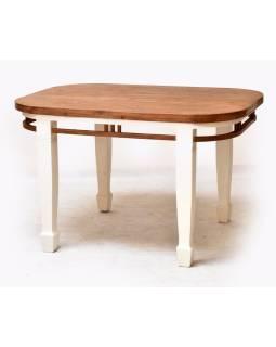 Stôl, oválny, antik teak, hranaté nohy, 130x80x80cm