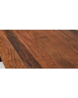 Stôl zo starých teakových fošní, kovové nohy, 200x98x88cm