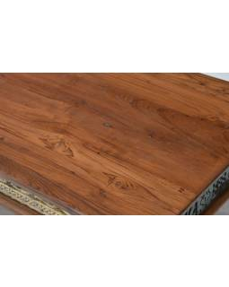 Konferenčný stolík z teakového dreva, ručné rezby, biela patina, 140x76x45cm