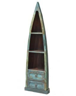 Knižnica z mangového dreva, v tvare lode, 55x35x190cm