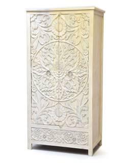 Vyrezávaná skriňa biela patina, mangové drevo, ručné práce, 100x60x200cm