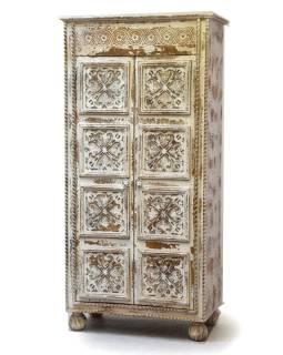 Šatníková skriňa z mangového dreva, ručné rezby, 88x46x180cm