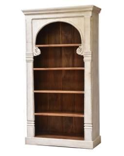 Knižnica z mangového dreva, ručné rezby, 114x45x208cm